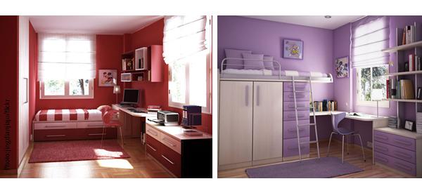 czerwony i fioletowy pokój